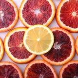 Oranje Fruit Achtergrond met Sinaasappel en citroenplak op witte achtergrond Hoogste mening Stock Foto
