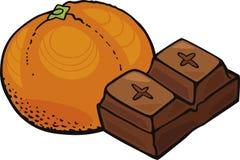 Oranje fruit en chocoladeblok Stock Afbeeldingen