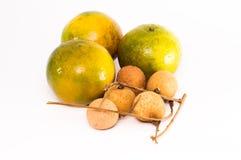 Oranje Fruit en Longan Frui Stock Afbeelding