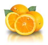 Oranje Fruit op Witte achtergrond Stock Afbeeldingen
