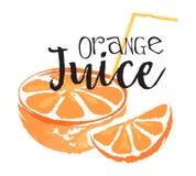 Oranje fruitetiket en sticker Stock Afbeelding