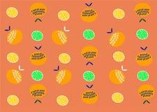 Oranje Fruitpatroon Van de achtergrond zomersinaasappelen citroen stock illustratie
