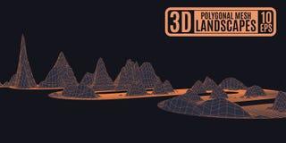 Oranje futuristisch landschap op zwart volumetrisch patroon royalty-vrije stock foto