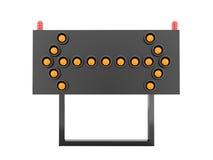 Oranje geïsoleerd de pijlenlicht van de wegbarrière Stock Foto
