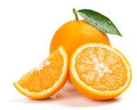 Oranje geheel, half en plak Sluit omhoog royalty-vrije stock afbeelding