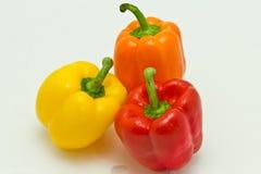 Oranje, Gele, en Rode Groene paprika's Royalty-vrije Stock Foto