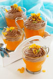 Oranje gelei met chocolademousse Royalty-vrije Stock Foto