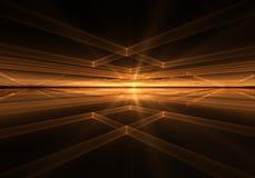 Oranje Geometrische Horizon met Stralen van Licht Royalty-vrije Stock Afbeelding