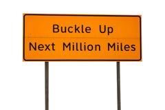 Oranje Gesp omhoog daarna Miljoen Miles Sign Royalty-vrije Stock Foto's