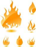 Oranje glanzende brand Stock Afbeeldingen