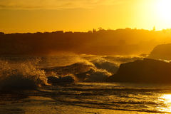 Oranje golvenzeegezicht Royalty-vrije Stock Fotografie