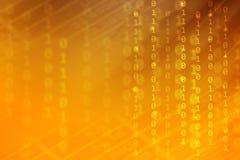 Oranje gradiëntkleur met binaire code en streeplijn, technologieachtergrond royalty-vrije stock fotografie