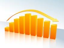 Oranje grafiek met pijl vector illustratie