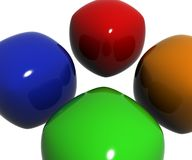 Oranje groenachtig blauwe en rode plastic objecten poetsmiddelen en het nadenken Royalty-vrije Stock Fotografie