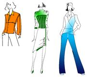 Oranje Groenachtig blauwe Meisjes Stock Afbeeldingen