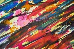Oranje groene gele roze zwarte blauwe vage kleuren, contrasten, wasachtige verf creatieve achtergrond Stock Foto's