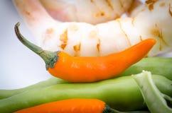 Oranje Groene paprika Stock Foto's