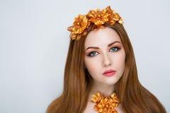 Oranje haarvrouw Stock Afbeelding