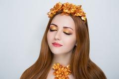 Oranje haarvrouw Royalty-vrije Stock Fotografie