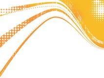 Oranje halftone grungegolven Stock Afbeeldingen