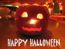 Oranje Halloween Aangestoken Pompoen stock fotografie