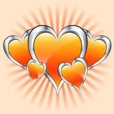 Oranje harten, valentijnskaart of moedersdag Stock Fotografie
