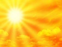 Oranje hemel en zonnestraal Stock Afbeeldingen