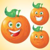 Oranje het beeldverhaalkarakter van de gezichtsuitdrukking - reeks Royalty-vrije Stock Foto's