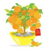 Oranje het Beeldverhaalvector van het Boom Gelukkige Chinese Nieuwjaar Stock Foto's