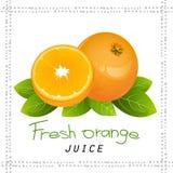 Oranje het pictogram vectorreeks van het plakfruit Realistische sappige sinaasappel met bladeren Stock Afbeelding