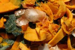 Oranje het schrootdetail en uien van het pompoenvoedsel stock fotografie