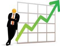 Oranje HoofdMens die op omhooggaande grafiek leunt Royalty-vrije Stock Afbeelding