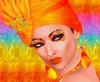 Oranje hoofdsjaal, schoonheids en manierillustratie Stock Afbeelding
