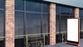 Oranje Informatievertoningen Bannertribunes in uw ontwerp het 3d teruggeven Moderne Grote vensters en baksteenkolommen royalty-vrije stock afbeeldingen
