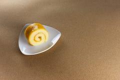 Oranje jam gerolde cake Royalty-vrije Stock Foto's