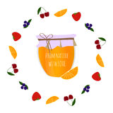 Oranje jampot in vruchten cirkel, element voor ontwerp stock foto's