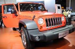 Oranje Jeep wrangler Rubicon Royalty-vrije Stock Foto