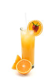Oranje juice. Glass of orange juice with oranges and strawberry isolated Royalty Free Stock Photography