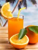 Oranje Juice Fresh Means Healthy Eating en het Drinken royalty-vrije stock afbeeldingen