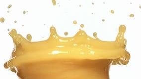 Oranje Juice Splashing tegen Witte Achtergrond, stock video