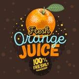 Oranje Juice Typographic Design With An-Sinaasappel met een Blad Illus Stock Foto's
