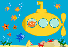Oranje kat in een gele onderzeese grappige beeldverhaalillustratie Stock Afbeeldingen
