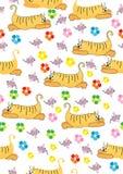 Oranje kat en roze muis, naadloze illustratie Stock Afbeelding