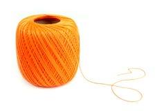 Oranje katoenen spoel Royalty-vrije Stock Foto's