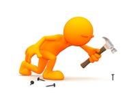 Oranje Kerel: Het werken met een Hamer en Spijkers Royalty-vrije Stock Afbeelding