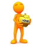 Oranje Kerel: Holding Honey Pot Royalty-vrije Stock Foto's