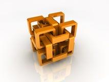 Oranje kettingskubus Stock Fotografie