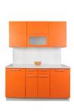 Oranje keuken Stock Foto's