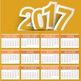 Oranje Kleuren Volledig Kalenderjaar 2017 - de Zondag van het Weekbegin Royalty-vrije Stock Fotografie