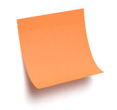 Oranje kleverige nota over wit Stock Foto